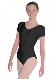 Black Jeanette Short Sleeve Dance Leotard