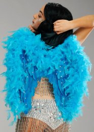 Deluxe Diamante Turquoise Blue Feather Angel Wings