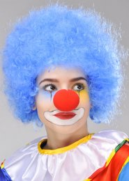 Circus Clown Blue Curly Pop Wig