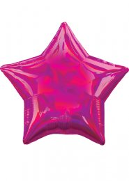 Inflated Iridescent Magenta Pink Star Helium Balloon