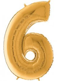 Inflated Mid-Size Gold Number 6 Helium Balloon on Weight