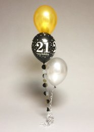 Gold And Black 21st Birthday 3 Balloon Cluster