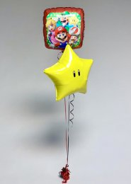 Inflated Super Mario and Yellow Star Helium Balloon Cluster