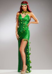 Womens Deluxe Sequin Corset Poison Ivy Style Costume