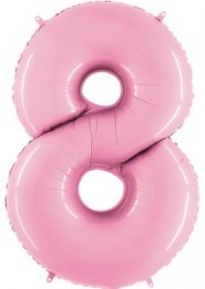 Large Baby Pink Number 8 Inflated Helium Balloon on Weight
