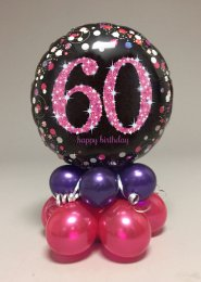 Black And Pink 60th Birthday Balloon Centrepiece