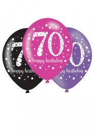 Pink and Black 70th Birthday Party Balloons Pk6