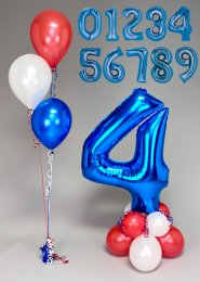 Red White & Blue Number Balloon Centrepiece and Cluster Set