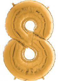 Inflated Mid-Size Gold Number 8 Helium Balloon on Weight