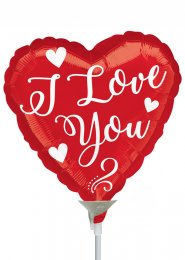 Inflated Red Heart I Love You Mini Air Filled Balloon on Stick