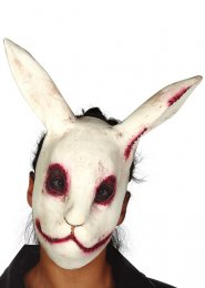 Mens Halloween Zombie Scary Evil White Rabbit Mask