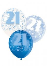 Blue Glitz 21st Birthday Party Balloons Pack 6