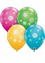 Scribble Circle and Flowers Party Balloons Pack 5