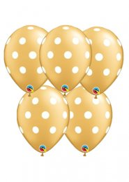 Gold and White Polka Dot Party Balloons Pack 5