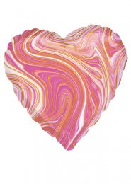 Inflated Pink and White Marble Heart Helium Balloon