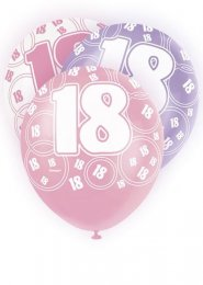 Pink Glitz 18th Birthday Party Balloons Pack 6