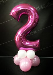 Metallic Pink Number 2 Balloon Centrepiece