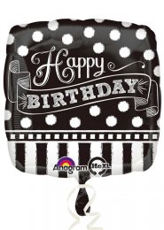 Inflated Black and White Happy Birthday Helium Balloon