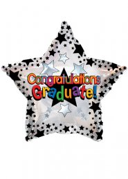 Inflated Graduation Star Foil Helium Balloon