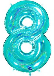 Sparkle Tiffany Blue Number 8 Inflated Helium Balloon on Weight