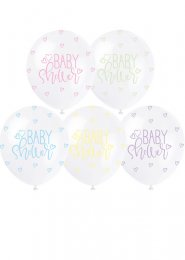 White Baby Shower Pastel Party Balloons Pk5