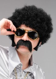 1970s Fancy Dress Curly Black Afro Wig
