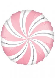 Inflated Satin Bubblegum Pink Candy Swirl Helium Balloon