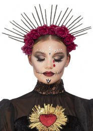 Day of The Dead Gothic Sunburst Red Rose Headband