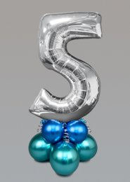 Inflated Medium Silver Chrome Green Number 5 Balloon Centrepiece