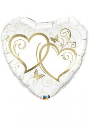 Inflated Large Gold Entwined Hearts Wedding Helium Balloon 36""