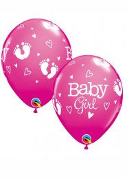 Pink Baby Girl Footprints Party Balloons Pack 5
