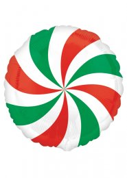 Christmas Red and Green Candy Swirl Helium Balloon
