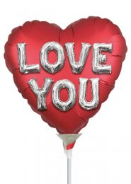 Inflated Red Heart Love You Mini Air Filled Balloon on Stick