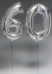 Large Silver 60th Birthday Large Number Balloons on Weights