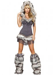 Womens Deluxe Grey Native American Indian Costume
