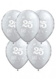 Silver 25th Anniversary Party Balloons Pack 5