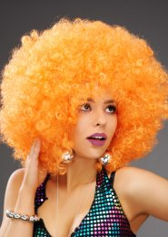 Extra Curly Orange Large 70s Disco Afro Wig