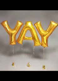 Metallic Gold 'YAY' Balloon Letter Set