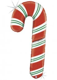 Inflated Extra Large Candy Cane Shape Helium Balloon