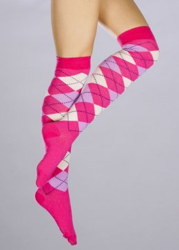 Womens Bright Pink Schoolgirl Knee Socks