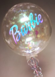 Iridescent Barbie Confetti Filled Bubble Balloon