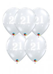 Diamond Clear 21st Birthday Party Balloons Pack 5