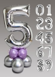 Chrome Silver and Lilac Large Number Balloon Centrepiece
