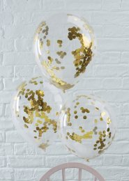 Metallic Gold Confetti Filled Balloons Pk5