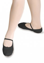 Black Leather Full Sole Ballet Shoes