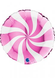 Inflated Bright Pink Candy Swirl Helium Balloon