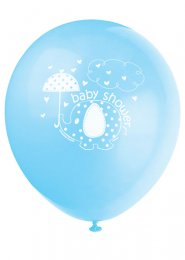Cute Blue Elephant Baby Shower Party Balloons Pk8