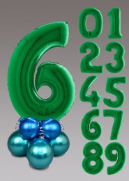 Chrome Green and Blue Large Number Balloon Centrepiece