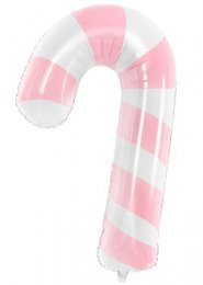 Pink Striped Candy Cane Christmas Helium Balloon