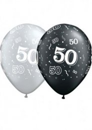 Black and Silver 50th Birthday Party Balloons Pk5
